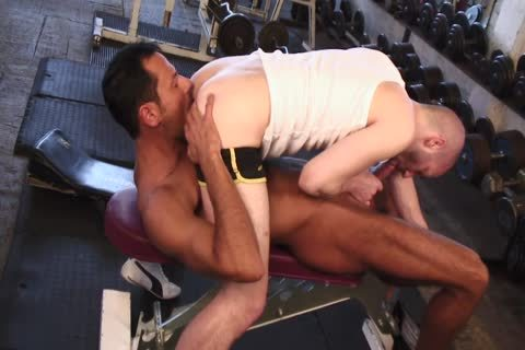 Tanned lad Nails fascinating lad's darksome hole In The Gym