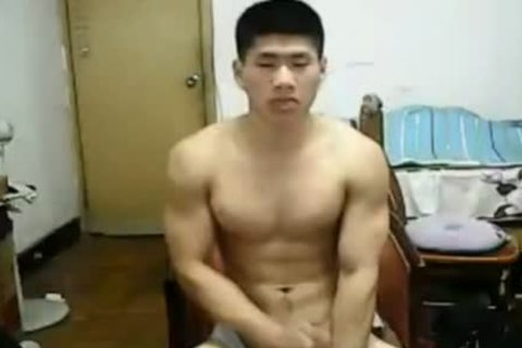 powerful Chinese chap Jerks Off On webcam
