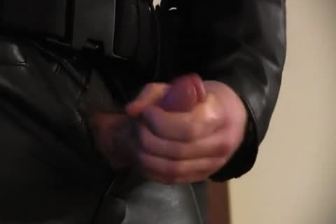 Leather Cop: Full Leather Play, Jerk, & ball sex cream