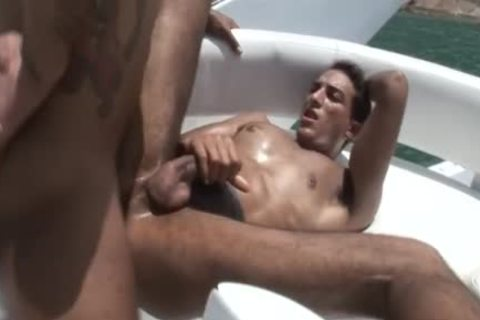 Two Latino twinks nail buttholes On A Boat