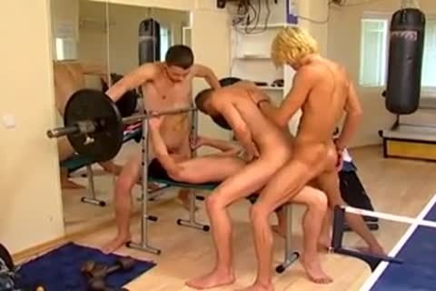homosexual 3Way In Gym
