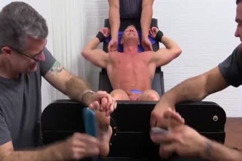 Muscled Johnny receives Tickled In His Pits And Sole By The three-some