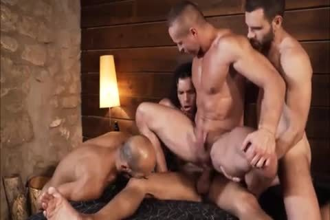 kinky Muscle males In 4some