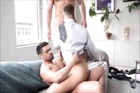 Three hairy Suited Muscle fellows bareback And Breed