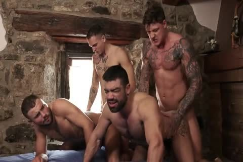 Powerful Four males raw fuckfest