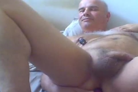 old chap Love Ventouse On nipps And dildo In butthole